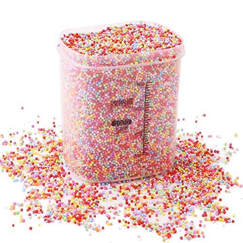 Lokipa Regenbogen-Schaumstoff-Kugeln – Styropor-Schaumstoff-Kugeln 2–3 mm (80.000 Stück) mit Dichtung, Kunststoff-Topf, dekorative Perle