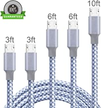 Micro USB Cable, 5Pack 2x3FT 2x6FT 10FT Nylon Braided High Speed 2.0 USB to Android Charging Cables Compatible Samsung Galaxy S9 S8 Plus Note 8/9, LG G6G7, Moto G6 Play, Google Pixel XL 3/3 XL