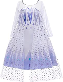 O.AMBW Elsa Costume Girl Snow Queen 2 Princess Costume White Blue Sequin Print Tulle Cloak Long Sleeve Evening Evening Dress Halloween Masquerade Party Birthday Party Role Playing Crown Wand