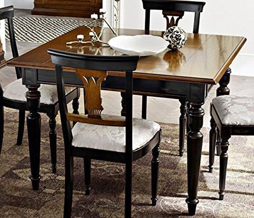 Le Fablier – Table Descartes Art. 604 Ligne Classique/Les Lauri – Table carré Extensible incrustations – Structure en Bois Massif de Noyer