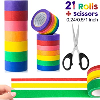 Colored Masking Tape, 21 Rolls with Scissors Colorful Painter Tape for Kids, Color Masking Tape Set 7 Different Color Rolls 13 Yards x (Wide 0.24/0.5/1 inch)
