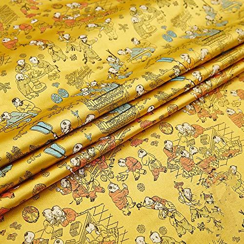 IQQI Silk Brocade, Baizi Figur Cushion DIY Cloth Tang Anzug Cheongsam Cos Kleidung Hanfu Fabric,A