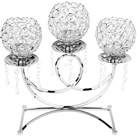 Amazon Com Backbayia Crystal Metal Tealight Candle Holder Wedding Party Decoration Table Centerpieces Silver Home Kitchen