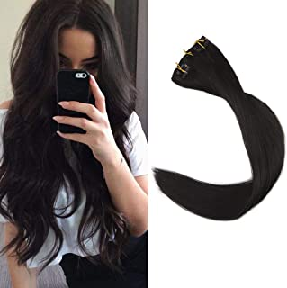 "Full Shine 24"" 9 Pieces 120gram Color 1B Off Black Clip in 24 inch Human Hair Extensions Real Hair Clip on Hair Weave for Thin and Short Hair"
