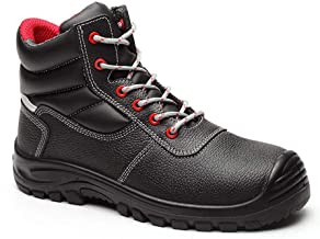 Zzyff Working Steel Toe Cap Men's High-top Shoes Safety Shoes Breathable Anti-Collision Anti-Piercing Site Safety Shoes Work Shoes Outdoor Mountaineering (Color : Black, Size : 41-EU)