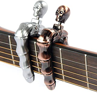 Guitar Skull Series CAPOS for Electric and Acoustic Guitars - 2 Packs with and Metal Box Knob Design Universal 4 5 6 12 Strings Instrument (Silver & Bronze)