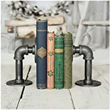 Jiqi Bookends Bookends for Shelves Retro Industrial Style Pipeline Bookends Novelty Vintage Pipeline Bookstand Heavy Books Decorative Book Stand (Color : A)