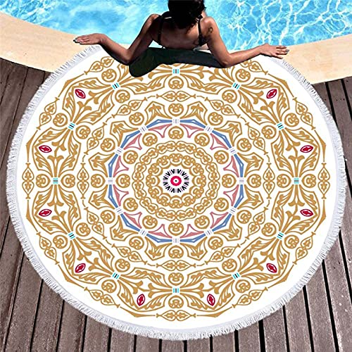 KLily Manta Redonda De Microfibra, Toalla De Playa con Flecos, Toalla De Baño Casera, Manta para La Siesta del Bebé, Lavable