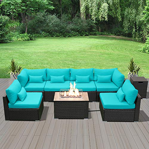 Modenzi Outdoor Sectional Patio Furniture with Propane Fire Pit Table Espresso Brown Wicker Resin Garden Conversation Sofa Set (G7 Sofa Rectangular Fire Pit, Turquoise)