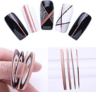 Vonrui 3 Pcs Nail Striping Tape Lines Set Rose Gold Matte Glitter 1mm 2mm 3mm Adhesive Stickers Nail Art DIY Styling Tool
