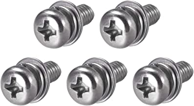 uxcell M5 x 14mm Stainless Steel Phillips Pan Head Machine Screws Bolts Combine with Spring Washer and Plain Washers 5pcs