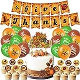 Decoración de la bandera de Acción de Gracias, 46pcs/Set de decoraciones de Acción de Gracias Banner Cupcake y Cake Topper Globos de Otoño Decoración de Fiesta para