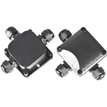 Idealeben Cajas de Conexiones 2 unidades IP68 Diámetro del Cable de 5.5mm-10.2mm (Negra): Amazon.es: Bricolaje y herramientas