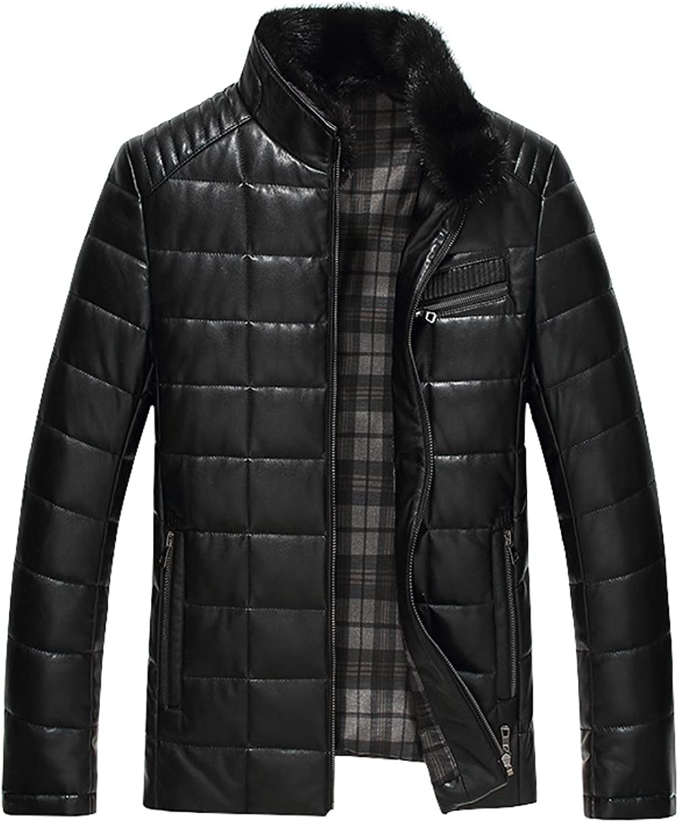 Springrain Men's Slim Stand Collar Leather Down Outerwear Jacket with Detachable Fur Collar