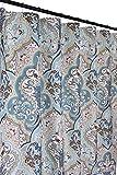 Calais Blue Brown Shower Curtain: Contemporary Floral Paisley Moroccan Damask Design