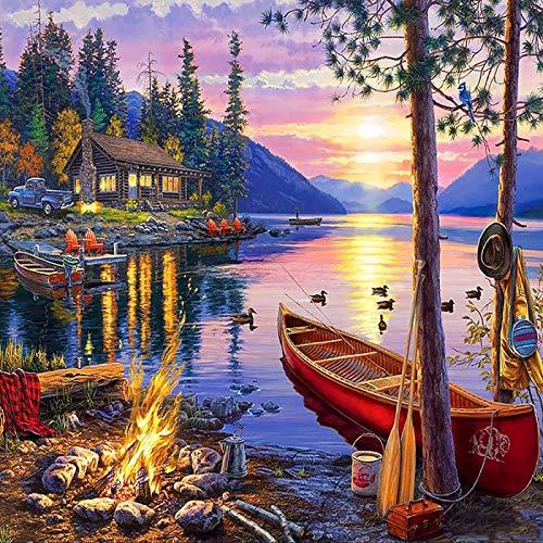 Pintura de diamante Plaza Completa Taladro Rhinestones Fotos Bordado Diamante Venta Lakeside Cabin Punto de Cruz Mosaico Regalo