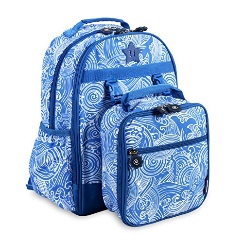 J World New York Kids' Duet Backpack with Detachable Lunch Bag, Wave, One Size