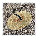 Xu Yuan Jia-Shop Mujeres Sombrero Mujeres Ancho Sombrero Sombrero de Paja Sombrero Plano Mujer Negro...