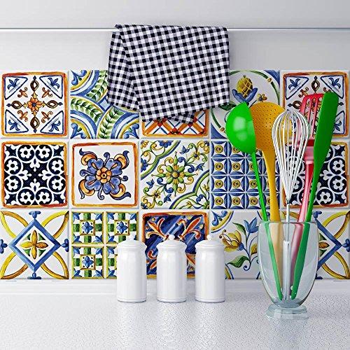 wall-art 25 Fliesenkleber Format 20x20 cm - PS00057 Aufkleber PVC für Fliesen für Bad und Küche Stickers Design - Keramik in Faenza