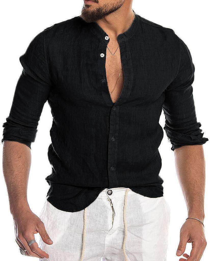 FUNEY Mens Long Sleeve Linen Shirts Button Down Beach Yoga Casual Summer Shirts Spread Collar Lightweight Plain Tops