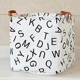 AQGELSNX Alphabet Nordique Pliant boîte de Rangement en Coton, Lin, Art, Panier de Rangement, boîte de Rangement pour Joue...
