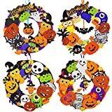 12 Sets Halloween Wreath Decorations Foam Halloween Wreath Signs Craft Kit Foam Pumpkins Jack-O`-Lantern Owl Ghost Witch Bats Monster Stickers for Kids Art Gift Favors Trick-Or-Treaters Front Door