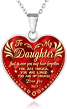 FAYERXL Gift Ideas to My Daughter from Dad Mom,Daddy Mommy Loves You Heart Necklace Quote Wedding Gift