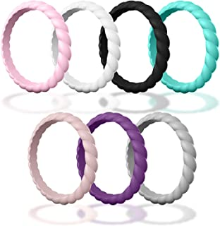 Made for Her DSZ Stackable Silicone Wedding Ring for Gym Sports Outdoor Women, Durable Rubber Band Pack of 3-7-10