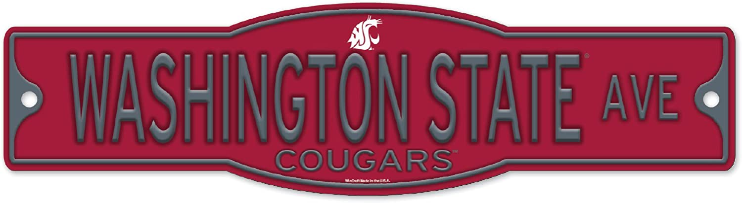 Washington State Cougars 4  x 17  Plastic Street Sign NCAA
