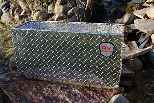 27' RV Battery Lock Box - Aluminum Diamond Plate