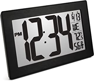 Marathon CL030068BK-BS Slim Panoramic Atomic Full Calendar Wall Clock with 8 Time Zones, Indoor Temperature, and Table Stand - Batteries Included. Color- Black Frame/Black Stainless Finish