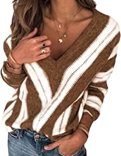 Womens Warm V Neck Loose Stripe Color Block Patchwork Long Sleeve Loose Knitted Sweater