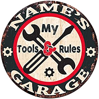 Any Name's My Tools My Rules Garage Custom Personalized Chic Tin Sign Rustic Shabby Vintage Style Retro Kitchen Bar Pub Coffee Shop Man cave Garage Decor Gift Ideas