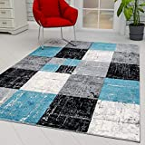 Ottomanson City Collection Modern Area Rug Contemporary Sculpted Effect Faded Geometric Grey Black Rug-5x7 (5'3' X 7'3'), 5'3' X 7'3', Blue-Bgrey Checkered