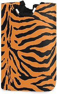 Alge Panier à linge pliable et durable Motif tigre géométrique abstrait Sac de rangement Panier à linge Panier à linge Pan...