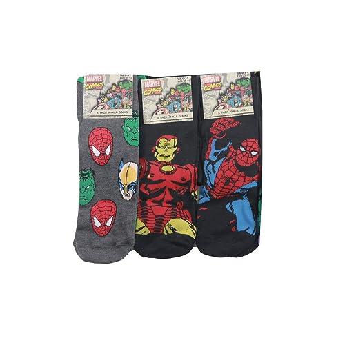 f03be2df19f 3pairs Marvel Comics Action Hero Design Socks Mens Novelty Fun Spiderman  Hulk Captain Marvel Socks 6