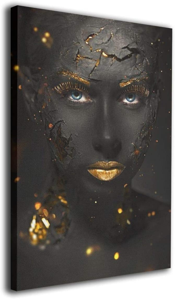African American Gold Black Woman Canvas Oil Ranking NEW before selling TOP7 Art Pai Wall Framed