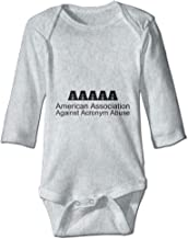 PUREYS-I Printed American Association Against Acronym Abuse Funny Baby Girls Long Sleeves Bodysuit Jumpsuit Outfits