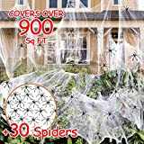 900 sqft Spider Webs Halloween Decorations Bonus with 30 Fake Spiders, Super Stretch Cobwebs for Halloween Indoor and Outdoor Party Supplies