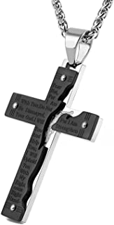 HZMAN Men's Stainless Steel Jesus Christ Crucifix Cross Lord's Prayer Pendant Necklace
