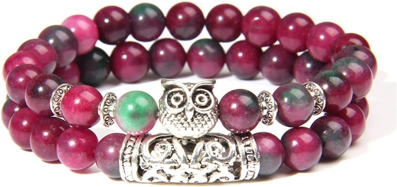 KAITUO Natural Pink Zebra Max 89% OFF Stone Women Philadelphia Mall Owl Bracelet Beads Fashion