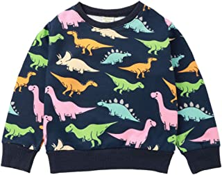 Kikibaby Toddler Girl Crew Neck Cotton Cute Cartoon Pullover Sweatshirt The Dinosaur 2-7T