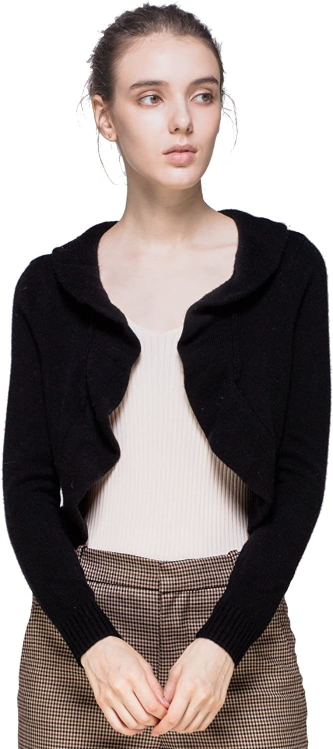 GUCIBODI Women's Shrug Sweater Pure color Cashmere Knitted Short Cardigan with Long Sleeved