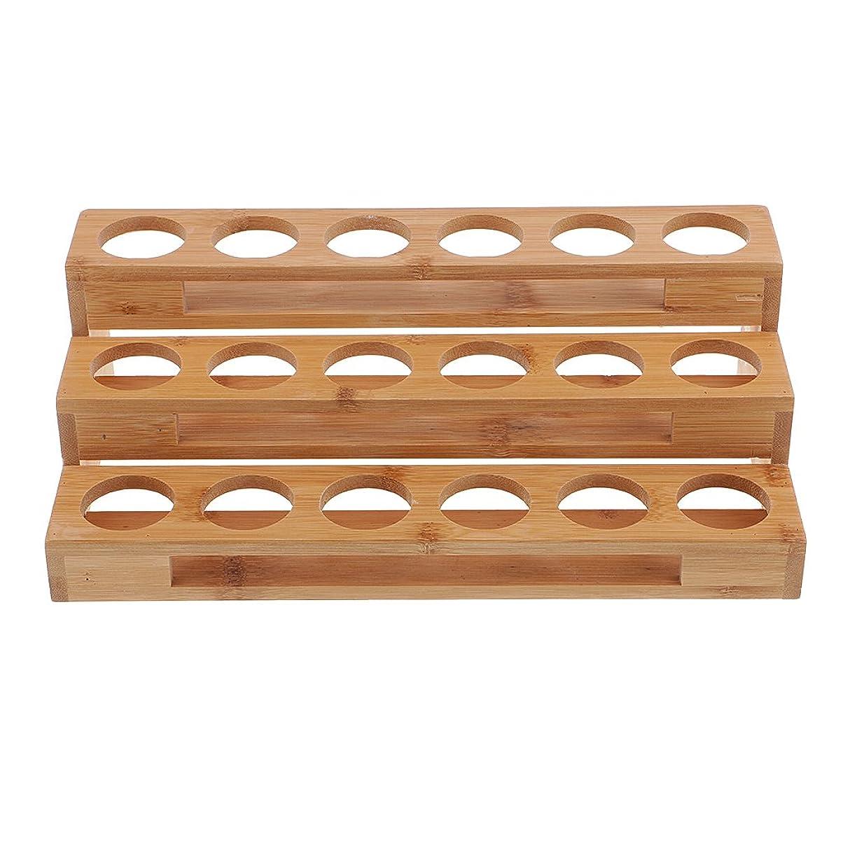 ベッドを作るやめる指導するHellery エッセンシャルオイル 精油収納 展示スタンド 展示ラック ディスプレイラック 木製 18ホール