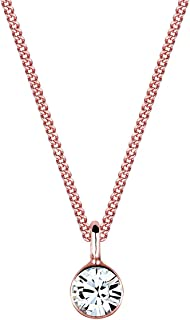 Elli Women's Necklace with Basic Solitaire Pendant Swarovski Crystals in 925 Sterling Silver 45 cm Long