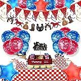 Juego de decoración para fiestas temáticas del oeste,con diseño de vaquera para colgar,banderines,globo con estrellas,servilletas,platos,tapas de banderines para fiestas de cumpleaños,baby shower