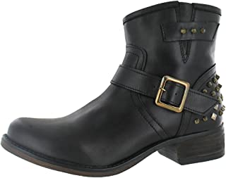 Steve Madden Womens Tuf Spiked Motorcycle Ankle Boot Shoe