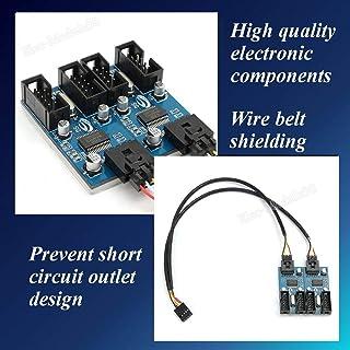 FidgetGear 9P 9ピンUSBマザーボードヘッダスプリッタ1〜4延長ケーブルポートマルチプライヤ
