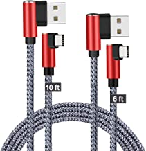 JCORD Right Angle Type C Cable Fast Charging 10ft 6ft 2 Pack 90 Degree USB C Cable Braided Quick Charge Cord & Data Sync for Samsung Galaxy S9 S8 Plus Note 9 8, Moto Z Z2, Nexus 6P/5X (Red Grey)