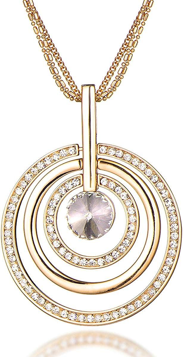 PengJin Y Necklace Round Color Diamond Pendant, Glass Green Alloy Czech Diamond Sweater Chain